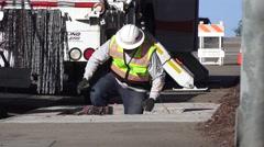 Public Utilities Electrical Power, underground worker - stock footage