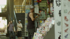 Man purchasing candies from the shop Stock Footage