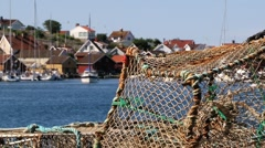 View to the fishermens net in the small fishermen town of Fjallbacka, Sweden. Stock Footage