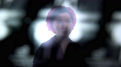 Young asian nurse in uniform holding x-ray Stock Footage