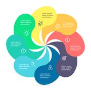 Infographic element with twisted petals - stock illustration