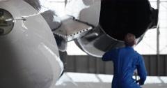 Jet Engine Wing Repair 4K Stock Footage
