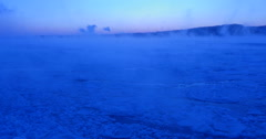River at dawn,very cold morning, winter ice and steam Wide Stock Footage