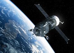Cargo Spacecraft Orbiting Earth. 3D Scene Stock Illustration