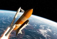 Stock Illustration of Space Shuttle Solid Rocket Boosters Separation