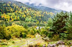 Autumn in the Pyrenees - stock photo