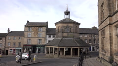Barnard Castle town center round about traffic England 4K Stock Footage