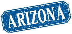 Arizona blue square grunge retro style sign - stock illustration
