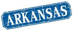 Arkansas blue square grunge retro style sign - stock illustration