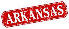 Arkansas red square grunge retro style sign - stock illustration