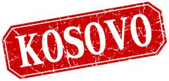 Stock Illustration of Kosovo red square grunge retro style sign