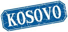 Kosovo blue square grunge retro style sign Stock Illustration