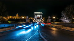 Budapest. Night car traffic on Chain bridge Stock Footage