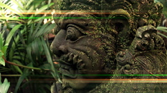 4k Grotesque Bali stone demon sculpture grimace FX version - stock footage