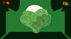 cauliflower  - Vector Graphics - Food Animation - leaves - stock footage