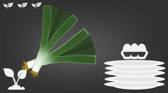 Leek  - Vector Graphics - Food Animation - grey Stock Footage