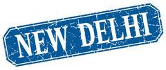 New Delhi blue square grunge retro style sign - stock illustration