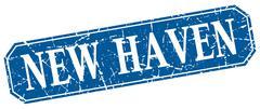 New Haven blue square grunge retro style sign - stock illustration