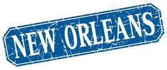 New Orleans blue square grunge retro style sign Stock Illustration