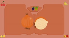 Onion  - Vector Graphics - Food Animation - board Stock Footage