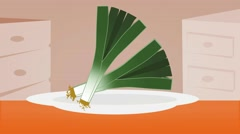 Leek  - Vector Graphics - Food Animation - plate Stock Footage