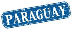 Paraguay blue square grunge retro style sign - stock illustration