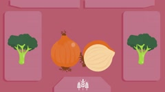 Onion  - Vector Graphics - Food Animation - pink - stock footage