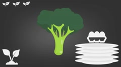 Broccoli  - Vector Graphics - Food Animation - grey Stock Footage
