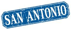 San Antonio blue square grunge retro style sign - stock illustration