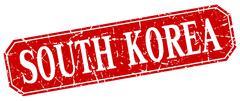 South Korea red square grunge retro style sign - stock illustration