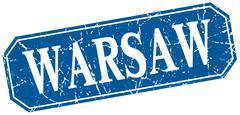 Warsaw blue square grunge retro style sign - stock illustration