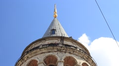 Stock Video Footage of Close up of Galata Tower (camera tilts down)