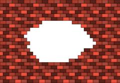 Broken red brick wall with big white hole inside with copyspace - stock illustration
