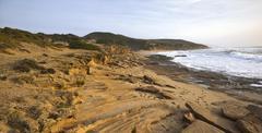 Beach of Portu Maga Costa Verde Sardinia Italy Europe Stock Photos