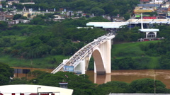 Aerial View of Friendship Bridge Connecting Brazil and Paraguay Stock Footage