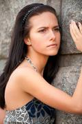 Portrait of nice dark-haired girl Stock Photos
