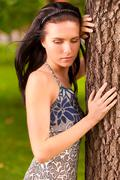 Portrait of nice dark-haired girl - stock photo