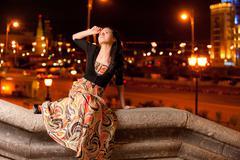 Portrait of beautiful dark-haired girl. - stock photo