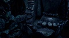 4k Holy Bali stone Ganesha sculpture tilt up FX version Stock Footage