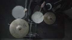 Rock music drummer playing drums in a live concert - stock footage