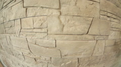 Wide angle view of natural rock tiles arranged on the wall Stock Footage