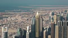 Dubai downtown and Persian Gulf, United Arab Emirates Stock Footage