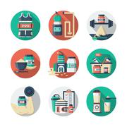 Sports lifestyle round detailed color vector icons - stock illustration