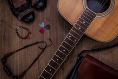 flat lay of female guitarist stuff - stock photo