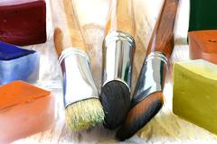 Colours and a paintbrush for drawing Stock Photos