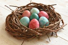 Multi-coloured Easter eggs Stock Photos