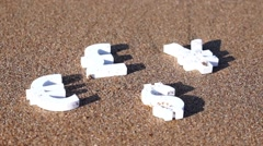 Euro, yen and dollar symbols on the sand. - stock footage