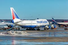 MOSCOW, RUSSIA - MARCH 22, 2012: Boeing 747 of Transaero company at the airpo - stock photo