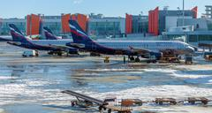 MOSCOW, RUSSIA - MARCH 22, 2012: Airbus A320 of Aeroflot company at the airpo Stock Photos
