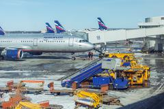 MOSCOW, RUSSIA - MARCH 22, 2012: Airbus A320 of Aeroflot company at the airpo - stock photo
